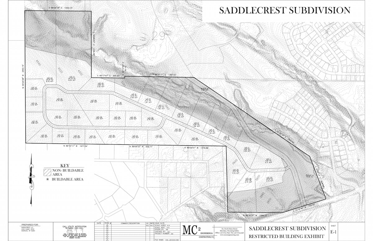 Subdivision plan for Saddlecrest, showing 36 lots.